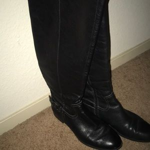 Below Knee Leather Boots - Wide Calve